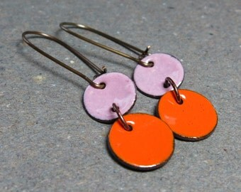 Orange Enamel Earrings Lilac Enamel Earrings Long Brass Earrings Dangle Earrings