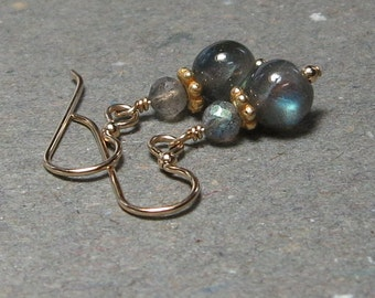 Gold Labradorite Earrings Blue Flash Gray Minimalist Gift for Her