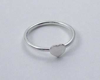 Silver Heart Ring, Sterling Silver Heart Stacking Ring