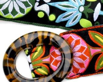 SALE Reversible Ribbon Belt ... Black Buckle ... Pink and Green Pinwheel Ribbons ... XSmall TEEN size 0/2