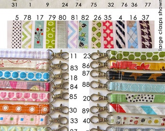 Key fob. keychain. Wrist strap for matching pouch. Designer fabrics with swivel clip 100's of fabrics. Key ring, wristlet lanyard, mom gift