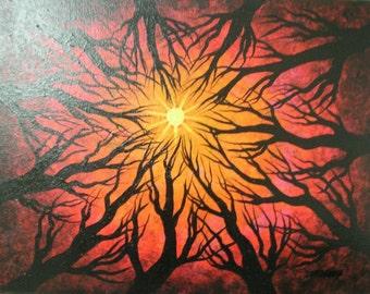 Tree painting, Original fine art, Deep red forest, Acrylic painting by Jordanka Yaretz