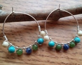 Gemstone Beaded Hoop Earrings