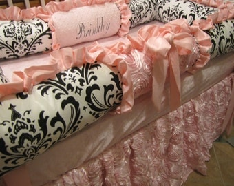 custom crib set Pink  Black and White bedding