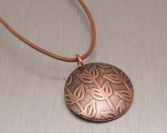 Etched Copper Pendant - Vine