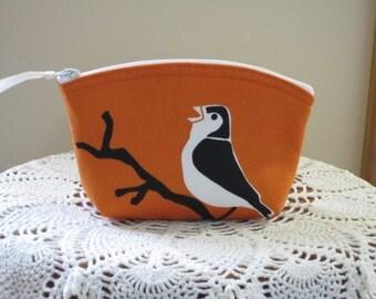 Cosmetic Bag Clutch Bridesmaid  Purse Tropical Robin made in USA