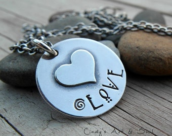 Personalized Heart Charm Necklace Custom LOVE Hand Stamped