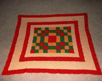 Vintage hand Crocheted Checkerboard Baby Blanket, Lap Blanket,Throw, Afghan Table Cloth