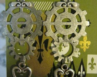 Steampunk Chandelier Antiqued Silver Gears and Heart  Earrings
