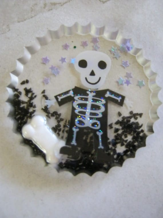 Halloween Skeleton with Candy Bone Web Resin Cabochon