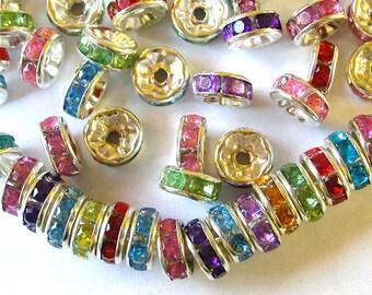 Multi Color Rhinestone Rondelle Spacer Beads (100)