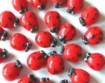 Ladybug Beads  Lampwork Beads 10 x 12mm (25)