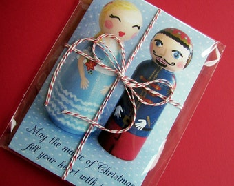 Hand Painted Love Boxes Clara Nutcracker Christmas Red Blue Postcard 10 pack