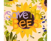 Save the bees colorful 8 x 10 inch print