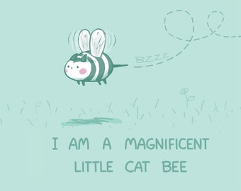 Magnificent Little Cat Bee Greeting Card