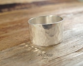 Sterling Silver Secret Message Band, Silver Wide Ring