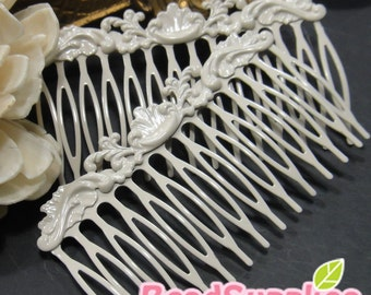 FN-RB-09008 - Art Nouveau Filigree Hair Comb for beadwork, off white, 2 pcs