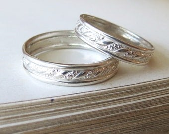 Sterling Unique Wedding Band Set Diagonal Scroll Pattern Vintage Style