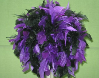 """Custom designed 8"""".10"""",12"""",14"""",16"""" Feather Kissing Ball, Feather Pomander,  Your colors, Feather Ball,  centerpiece, unique"""