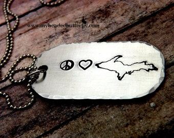 Michigan necklace-hand-stamped necklace-Great lakes-peace-love-Michigan-upper peninsula-necklace-keychain