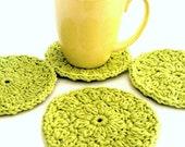 Green Coasters Face Scrubbies Home Decor Handmade Michigan CurlyGirlCrochet