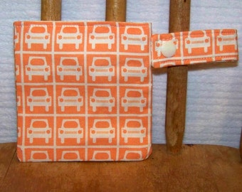 Pacifier Pod -  binky holder cars pouch snap by PETUNIAS