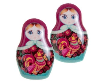 Russian Doll Matryoshka Stud Post Earrings Turquoise and Purple