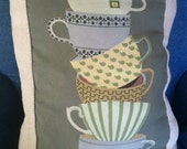 Stacked Teacups pillow