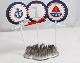 Boy Nautical Cupcake Toppers- Set of 12- 1st Birthday