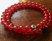 Double HOPE 54 bead Mala Red Prayer Bracelet (7-8 inches) - 100% donation to Cancer research
