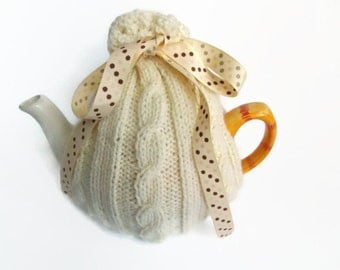 knitting pattern cream cable tea cozy sent as a digital item as a pdf file