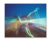 sunset drive-in (two): 24x30 ready to hang photo. surreal abstract photography. summer night sky photo. deep midnight blue large wall art.