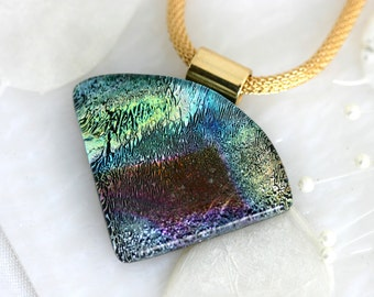 Wedge Dichroic Fused Glass Pendant Necklace Jewelry 01122, GetGlassy