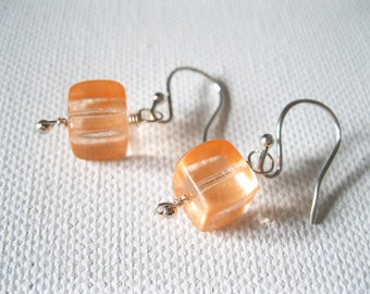 Sterling Silver & Neon Orange Cube Earrings UK Seller Contemporary Fluorescent Orange Jewellery Neon Accessories