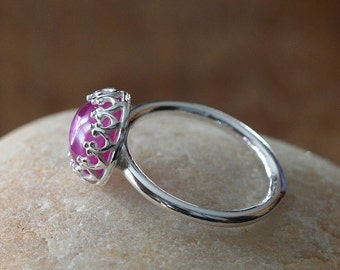 Pink Sapphire Stacking Ring, Sterling Silver Ring, Gallery Crown Bezel, Gemstone Ring, Size 2 to 15, October Birthstone, Solitaire Ring