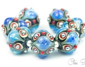 Jewels - Black Red Silver Blue - Handcrafted Lampwork Glass Bead Set 7 by Clare Scott SRA Metallic Blue
