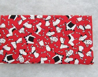 Checkbook Cover - Dogs on red