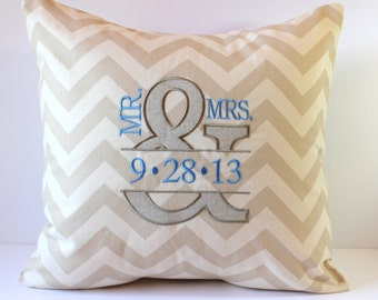 CHEVRON Mr & Mrs Monogram Decorative Pillow Cover. Ampersand And Sign Symbol. 18 x 18 Anniversary Wedding Day. Established Date. Barn Decor.