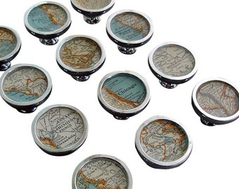 Map Drawer Pulls or Handles Cabinet Knobs Custom Cities  Vintage Atlas or for Desk Drawers  1 Knob Free US Shipping