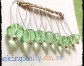 Snag Free Stitch Markers Large Set of 8-- Clear Green Faceted Glass -- N50 -- For up to size US 17 (12.75mm) Knitting Needle