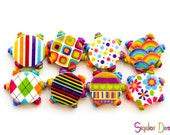 Polymer clay round flat beads - Graphic design beads - colorful festival tambourine beads 20mm (8)