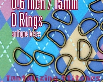 15 Pieces Unwelded D rings - 0.6 inch / 15 mm - Choose Your Finish (antique brass, nickel, gun metal)