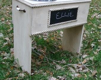 Elevated Dog Feeder, Feeding Stand, Dog Bowl Holder, Large Dog Feeder, Personalized Chalkboard Custom