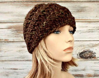 Knit Hat Womens Hat - Swirl Beanie in Mesquite Brown Knit Hat - Brown Hat Brown Beanie Womens Accessories Winter Hat