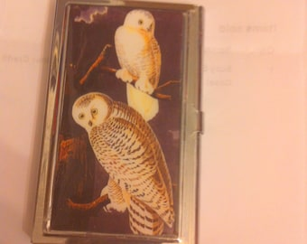 Retro Two Owls Business Card Holder I. D. Credit Card Case