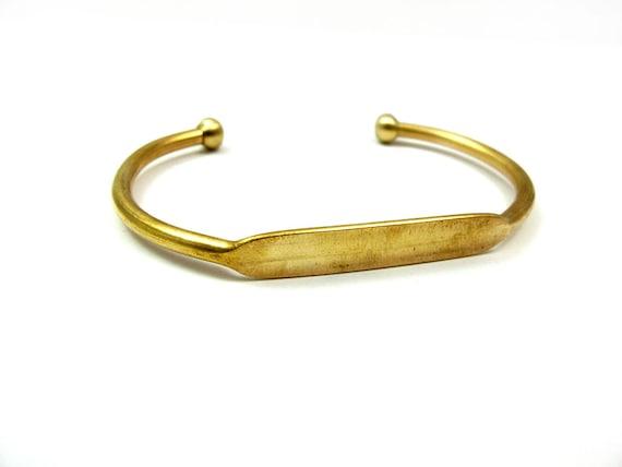 Raw Brass Engraving Cuff Bracelet (J613-A)