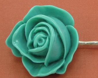 Large Vintage Blue Flower Hairpin