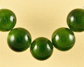 Dark Green Hand Blown Glass Necklace