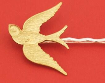 Large Brass Sparrow Bird Hairpin