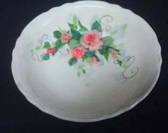 Shabby Cottage Bowl with Pink Roses Leaves Chic Hand Crafted